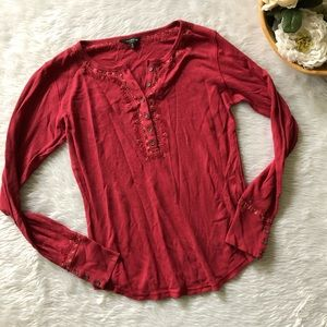 Lucky Brand Red Knit Long Sleeve
